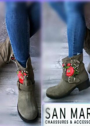 40р замша,кожа!новые  франция san marina  ботинки сапожки с вышивкой
