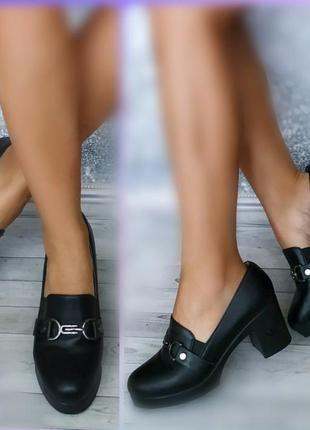 40-41р легкие черные туфли на платформе и каблуке