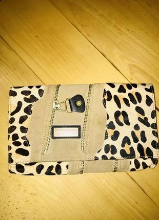 Женский клатч леопард кожа и замш оригинал