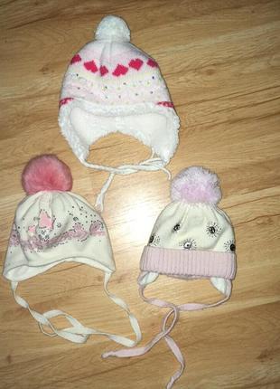 Тёплые шапки для девочки 12-18 мес