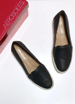 Эспадрильи aerosoles кожаные 37 38 размер чёрные слипоны балетки туфли женские