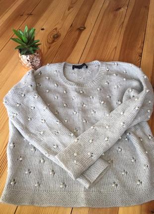 Тёплый свитер в жемчуг 30% шерсть!!!