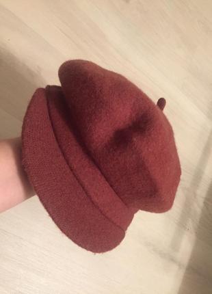 Модная кепка кепи тёплая кирпич цвет р. м/л