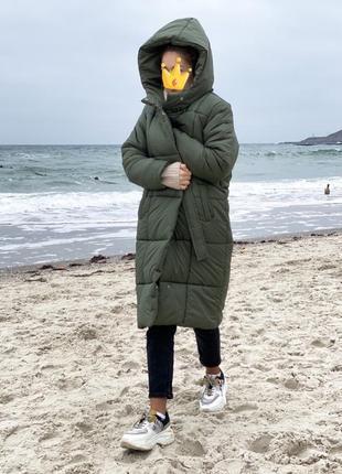 Теплое длинное пальто пуховик скидка до 28.12.19