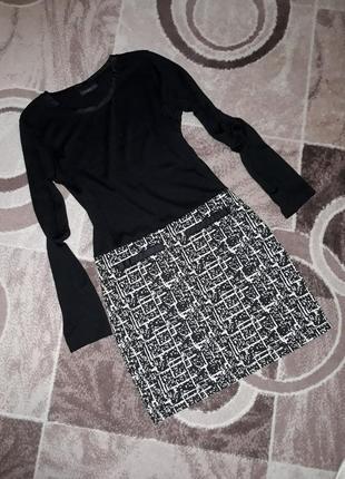 Плаття чорно-біле gina benotti абстракція класичне сукня платье чорное белое