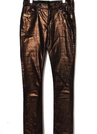 Брюки золотые стрейч h&m блестящие штаны бронза металлик