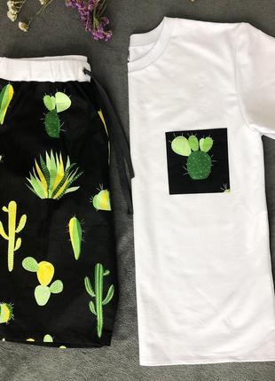 Мужская дизайнерская пижама кактусы белая