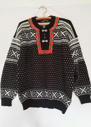 Шерстяной норвежский свитер вышиванка nordstrikk woolmark