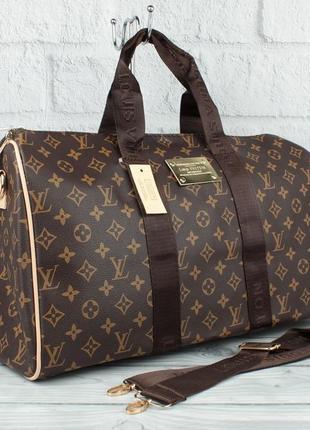 Дорожная сумка, саквояж 366 коричневая с логотипом