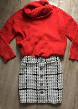 Тёплая шерстяная юбка marks & spencer размер l - xl