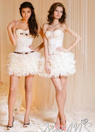 Красивое короткое свадебное платье