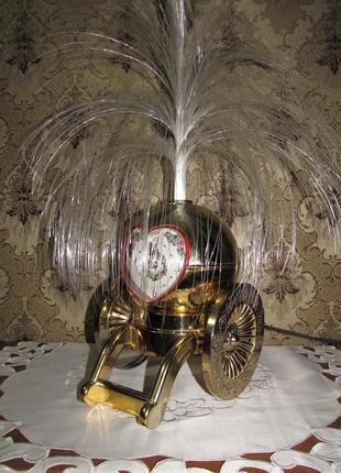 """Декоративный ночник-часы из светодиодного волокна """"золотая пушка"""""""