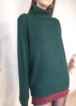 Удлиненный свитер под горло в рубчик, с высоким горлом, обьемный, гольф