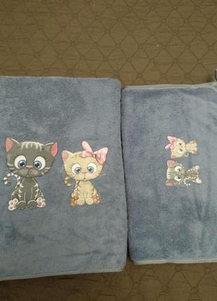 Комплект набор детских полотенец баня+ для рук, котики, турция