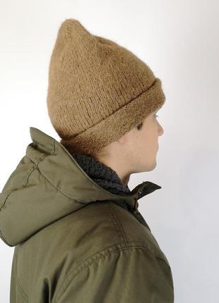 Вязаная теплая мужская шапка альпака ручная работа