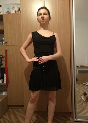 Чёрное, короткое, летнее платье