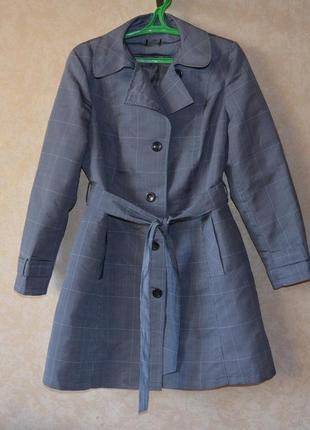 Плащ тренч в клетку  ветровка куртка пальто