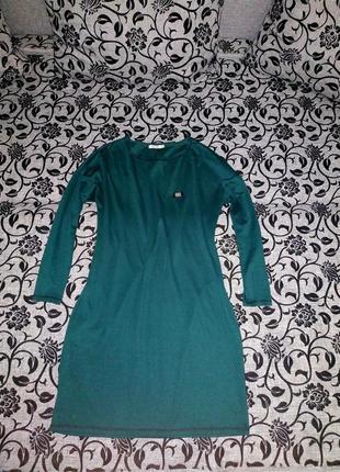 Платье трикотаж зелёное