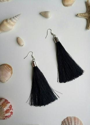 Серьги кисти, сережки кисточки черные, сережки кісточки чорні!