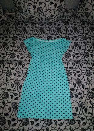 Платье в горошек бирюзовое масло