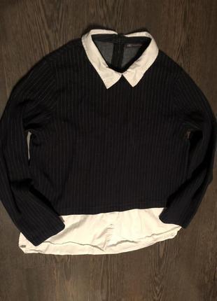 Комбинированная кофта с рубашкой ,свитшот рубашка