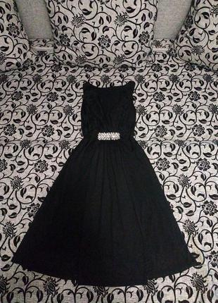 Платье сарафан чёрное шифон