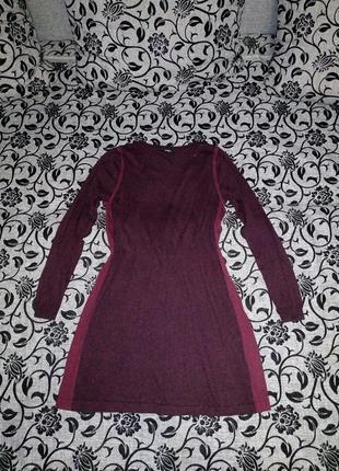 Платье тёплое бордовое