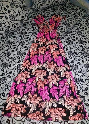 Сарафан ткань масло розовое длинное