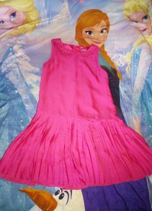 Яркое нарядное платье с юбкой плиссе