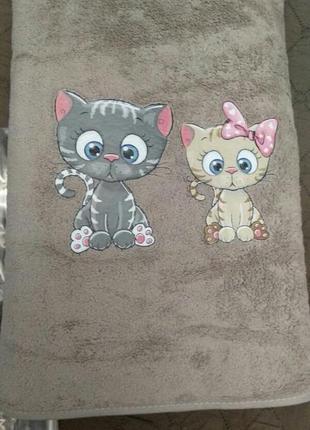 Комплект набор полотенец детских, котики, турция