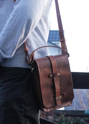 Мужская кожаная сумка, повседневная мужская сумка