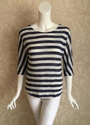 Massimo dutti льняная футболка блуза топ в полоску