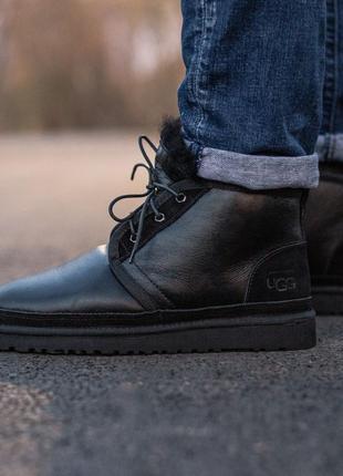 ❄️зимние❄️мужские ботинки/угги/уги ugg neumel boot black, кожаные чёрные зима мех.