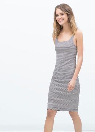 Фактурное платье майка карандаш zara оригинал/must have /миди/в полоску