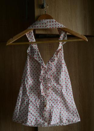 Блуза в горошек с открытой спинкой и жабо от h&m