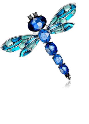 Шикарная брошь с камнями стрекоза синяя