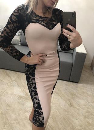 Вечернее платье нарядное новогоднее корпоратив розовое с гипюром вечернее кружево
