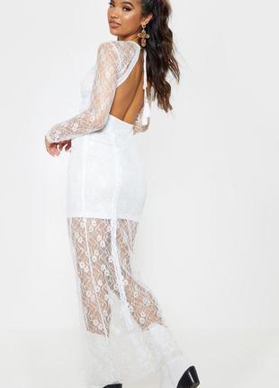 Ажурное кружевное платье в пол в стиле бохо с открытой спиной свадебное prettylittlething