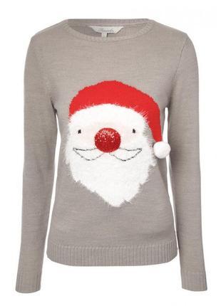 Новогодний свитер с дедом морозом , санта клаусом, пайетки размер 16-18(46-48)