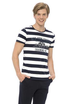 Белая мужская футболка lc waikiki / лс вайкики в синюю полоску new york sports