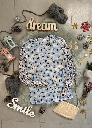 Актуальная плотная шифоновая блуза в цветочный принт №45max