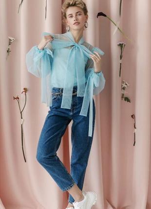 Нарядная голубая блуза с широкими пышными рукавами и бантом оверсайз st michael xl/m/s/l