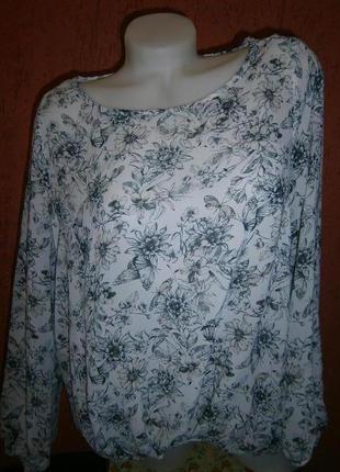 Нежная блузка в цветы и бабочки длинный рукав полупрозрачная