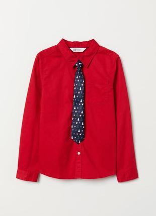 Яркий новогодний комплект рубашка и галстук