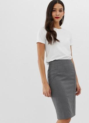 Серая классическая офисная юбка карандаш h&m