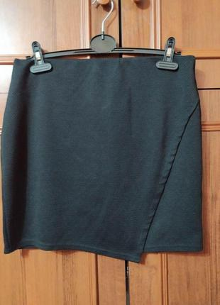 Текстурная черная мини юбка new look