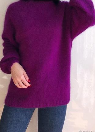 Марсаловый ангоровый ангора пушистый премиум  свитер с горлышком люкс