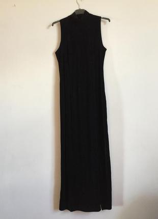 Бархатное платье гольф стойка чёрное . vintage макси в пол