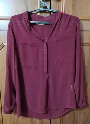 Легкая блуза цвета марсала скандинавского премиум бренда