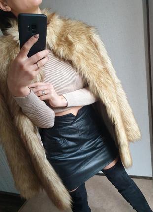 Шикарная тёплая стильная длинная шуба меховое пальто от asos искусственная